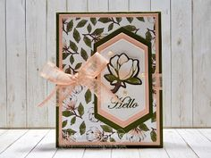 Make It Monday - Good Morning Magnolia Hello Card (Cut Magnolias Directly From Designer Paper!) (Peanuts and Peppers Papercrafting) Pink Cards, Magnolia Stamps, Magnolia Flower, Stamping Up Cards, Card Patterns, Mothers Day Cards, Paper Cards, Flower Cards, Paper Design