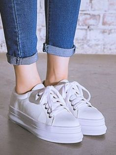 Shop White Lace Up Flatform Shoes from choies.com .Free shipping Worldwide.$38.99