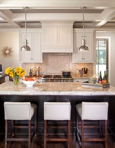 Love these light fixtures and the backsplash. Want herringbone in subway tiles somewhere.