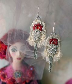 Once Upon A Time II  hand embroidered lace earrings by bonheur