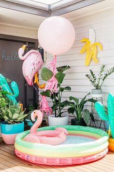 party together! That's right folks, this month we're sharing some of our favorite ways to throw a flamingo party with 5 necessities. Flamingo Party, Flamingo Birthday, Flamingo Pool, Pink Flamingos, Festa Party, Luau Party, Diy Party, Miami Party, Party Fun