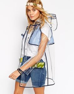 ASOS Rain Trench With Contrast Binding
