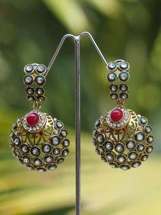 Stunning Zircon & Meenakari Earrings