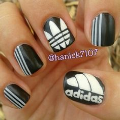 hanick7107 ADIDAS #nail #nails #nailart ... no lettering no moose foot stripes and triangles speak for themselves