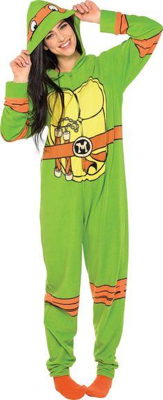 Adult Teenage Mutant Ninja Turtle One Piece Pajama - Party City Canada