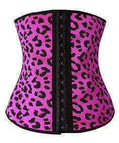 Camellias Women's Leopard 3 Hooks Latex Waist Trainer Shapewear Workout Waist Cincher, SZ1993-3-Rose-S