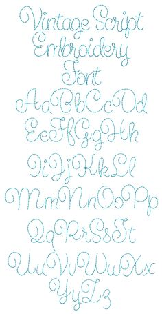 Vintage Embroidery Ideas Vintage Script Embroidery Font Machine Embroidery Designs by JuJu - Embroidery Stitches Tutorial, Embroidery Transfers, Machine Embroidery Patterns, Embroidery Fonts, Crewel Embroidery, Hand Embroidery Designs, Embroidery Ideas, Vintage Embroidery Patterns, Embroidery Tattoo
