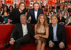 "Celine Dion appears on the French television show ""Vivement Dimanche"" with Alain Delon, Serge Lama."
