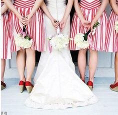 red pinstrip bridesmaids are a great way to add a little punch of pattern!
