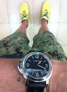 Panerai 219 on OEM rubber strap. Mark McNairy Digital camo shorts.