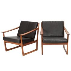 Pair of Peter Hvidt & Orla Mølgaard Nielsen Sled Lounge Chairs in Horse Leather and Teak for France and Son ca.1960's