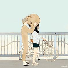 나만 바라봐(Look at me only! ) by 살구 on Grafolio Art And Illustration, Illustration Mignonne, Anime Gifs, Anime Art, Aesthetic Art, Aesthetic Anime, Gif Mignon, Cute Couple Art, Korean Art
