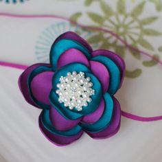 Teal and Fuchsia Big Satin Flower Sparkle by MyLittlePixies, $10.75
