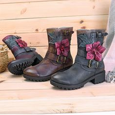 3e83b2b4673f1d SOCOFY Sooo Comfy Handmade Flower Buckle Ankle Leather Boots Розкішний Одяг