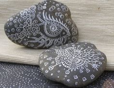 Doodled White Lace Rock Duo  Perfect Hostess or House by Doodlage