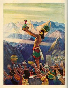 """""""The Feast of Raymi"""" - Illustration by N.C. Wyeth for """"Song Programs for Youth: Treasure,"""" Ginn and Company, 1938."""