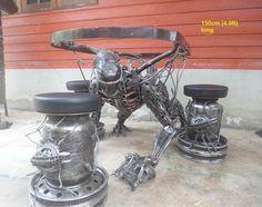 alien table, life size scrap metal art