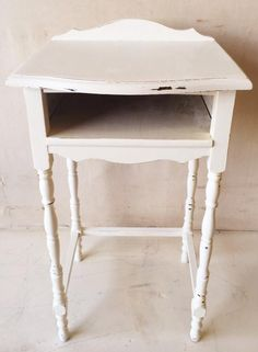 Antique White Shabby Chic Side Table $95