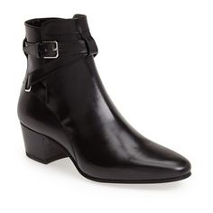 """Saint Laurent 'Jodhpur' Bootie, 1 1/2"""" heel ($995) ❤ liked on Polyvore featuring shoes, boots, ankle booties, ankle boots, lined boots, leather boots, equestrian boots, leather ankle boots and bootie boots"""
