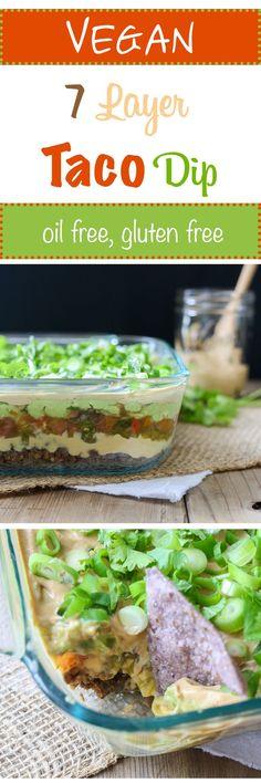 7 Layer Taco Dip | www.veggiedontbit... | #vegan #plantbased #appetizer #mexican