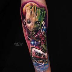 Groot, tattoo by Kristina Taylor – Tattoos – Cozy Places Marvel Tattoo Sleeve, Galaxy Tattoo Sleeve, Avengers Tattoo, Marvel Tattoos, Arm Tattoo, Sleeve Tattoos, Baby Groot Tattoo, Body Art Tattoos, New Tattoos