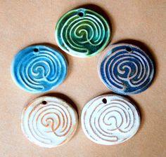 5 Labyrinth Beads  Handmade Ceramic Labyrinths by beadfreaky, $11.50