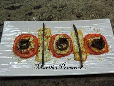 Queso fresco a la plancha con tomate, espárragos y orégano en Olla GM