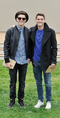 Jack and Finn Harries wearing Burberry outside the Burberry Prorsum show space in Kensington Gardens, London