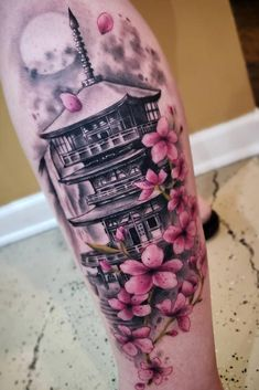 Big Cherry Blossoms And Pagoda Tattoo Design ★ A delicate small or big cherry blossom tattoo with a meaning on back, arm, shoulder, side, wrist or on leg. Japanese Temple Tattoo, Japanese Tattoo Art, Japanese Tattoo Designs, Japanese Sleeve Tattoos, Sleeve Tattoos For Women, Tattoo Sleeve Designs, Tattoos For Guys, Tattoos Bein, Leg Tattoos