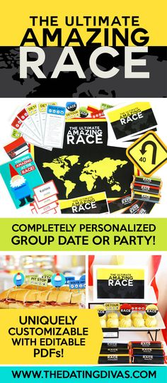The Amazing Race Game Party- the printables are EDITABLE so you can totally customize and personalize them too! Such a great party idea! LOVE these Amazing Race Challenges Amazing Race Challenges, Amazing Race Games, Amazing Race Party, Amazing Race Ideas For Adults, Adult Party Games, Game Party, Group Dates, Redneck Party, Adult Birthday Party
