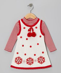 Take a look at this Ivory & Red Snowflake Top & Knit Jumper - Infant, Toddler & Girls on zulily today!