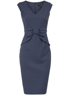 Blue peplum bow dress - this is a dusty enough navy blue, that I think a summer could wear it, but so, probably, could a winter