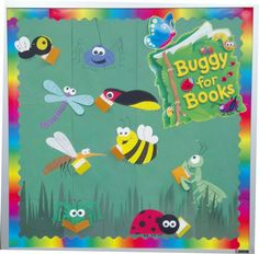 Bug Bulletin Board for Spring. Bugs reading books. Check out more bulletin board ideas here!