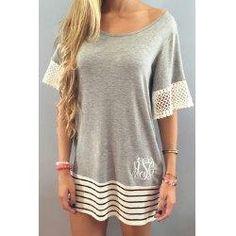 #trendsgal.com - #Trendsgal Scoop Neck White Lace Splicing Short Sleeve T Shirt - AdoreWe.com