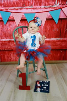 Dr. Seuss Cat in the Hat First 1st Birthday Infant Tutu Outfit - 12 months