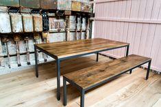 Esstische - Tisch Stahlrohr & Wildeiche - massive Handa... - ein Designerstück von FantasticFurniture bei DaWanda