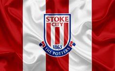 Download wallpapers Stoke City FC, Premier League, football, Stoke-on-Trent, United Kingdom, England, flag, emblem, Stoke City logo, English football club