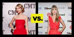 Who Wore it Better Little Red Dress: Taylor Swift vs.Taylor Swift. See full looks here: http://buzznet.com/~6485977