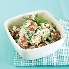 Minted Potato Salad Recipe with Peas and Cauliflower. 112 calories; 0 g fat; 20 g carbohydrates; 5 g protein; 4 g fiber