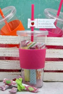 """Reusable cups with drink packs inside! """"Thanks for quenching my thirst for knowledge!"""""""