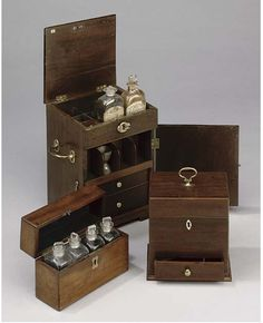 Three mahogany apothecary chests late 18th and early 19th century