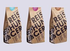 "Designed by Funny Paper | Country: Germany ""Reishunger is a small rice brand that is based in Germany and is focused on authentic and premium-quality rice from all over the world. The slim and slick package design emphasizes the raw and pure character of its contents. Both color coding labels and multiple-choice menu on the package help differentiate between the types of rice."""