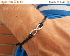 NOW ON SALE Silver Infinity Men's Bracelet Black by MENsCORNER