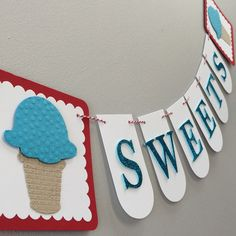 Ice Cream Cone Party Banner - Sweets, Birthday Party, Summer Party by LeroyLime on Etsy