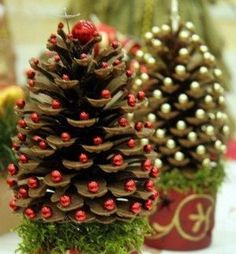 Pine cone trees decorated with beads.