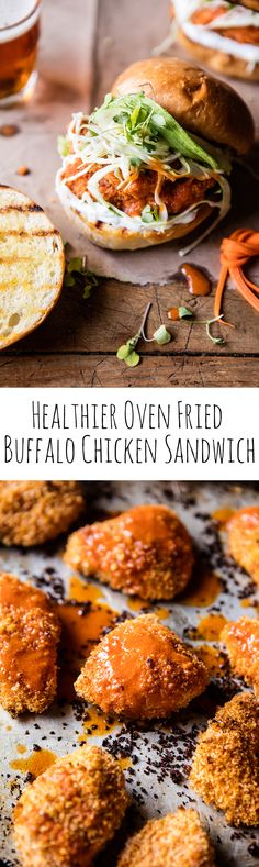 Healthier Oven Fried Sweet Tea Buffalo Chicken Sandwich   halfbakedharvest.com @hbharvest