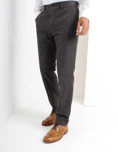 These Donnegal trousers in taupe, brown and white marl have a zip fly with front inlet pockets and a rear right welted pocket with single brown button fastening. Donegal, Occasion Wear, Taupe, Trousers, Zip, Suits, How To Wear, Clothes, Fashion