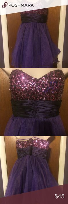 Purple strapless formal dress Strapless purple formal. Short dress with sequined bodice. Dancing Queen Dresses Prom