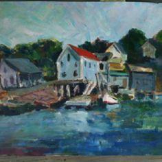 ' Maine Fishing Village'    acrylic     -bonnie rotenberg