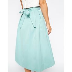 ASOS High Waist Midi Skirt in Satin with Bow (56 CAD) ❤ liked on Polyvore featuring skirts, high waisted knee length skirt, satin skirt, blue high waisted skirt, high-waisted midi skirts and blue midi skirt